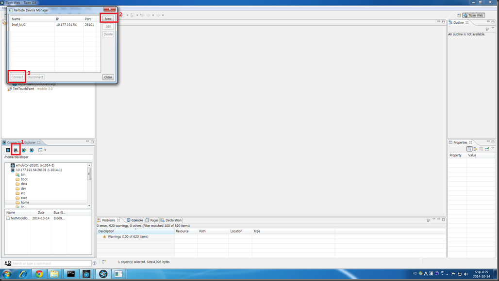 Using Tizen IDE for Tizen Installation && Debugging with